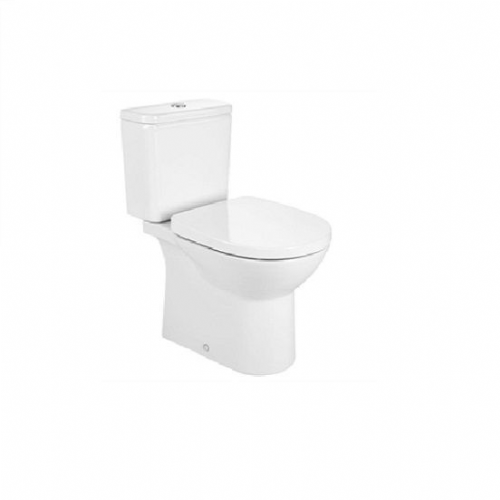 Roca Debba Round Close Coupled Toilet With Push Button Cistern - Soft Close Seat - White